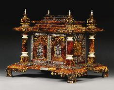 An early Victorian tortoiseshell ivory and mother-of-pearl inlaid casket, circa 1845