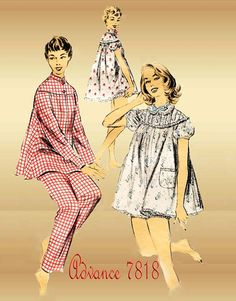 1950s Pajamas Pattern Vintage Advance 7818 and Shortie Baby Doll Set