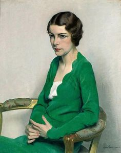Sir Herbert James Gunn, R.A. (1893-1964), Portrait of a Lady wearing a green Dress, 1929