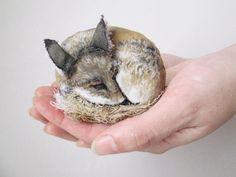 fox miniature faux taxidermy textile fiber art by MosMea on Etsy
