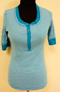 Cute blue checkered button tee shirt top blouse by Maurices sz L