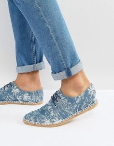 ASOS Lace Up Espadrilles In Chambray Palm Print - Blue