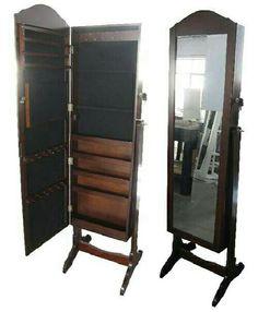 Joyero espejo de cuerpo entero en madera y gran capacidad for Espejo joyero barato