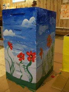 More Custom Painted Hives from Michigan Bee Hives Boxes, Bee Boxes, Beehive Design, Honey Bee Hives, Bee Friendly, Bee Art, Busy Bee, Save The Bees, Bee Happy