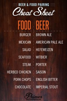 beer + food pairing cheat of cooking guide cooking tips All Beer, Wine And Beer, Beer 101, Cooking Photos, Cooking Tips, Cooking Food, Beer Brewing, Home Brewing, Beer Pairing