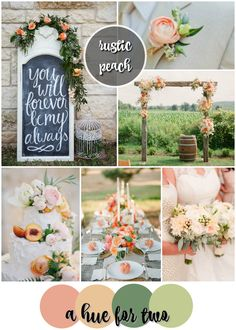 Peach and Sage Rustic Wedding Colour Scheme - Summer, Rustic Weddings - Wedding Colours - A Hue For Two | www.ahuefortwo.com