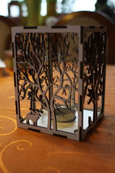 Laser cut candle holder Tree+animals  by Rumo.