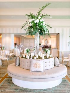 Classic wedding reception lounge idea - lounge area with tall, floral + greenery arrangement and monogrammed pillows {Pasha Belman Photography} Wedding Lounge, Wedding Seating, Luxury Wedding, Wedding Sparklers, Wedding Vows, Wedding Blog, Wedding Ideas, Best Wedding Dance, Myrtle Beach Wedding