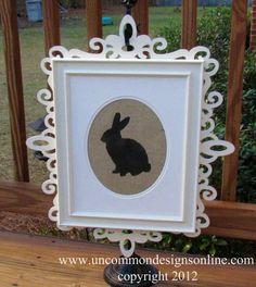 Bunny Silhouette on Burlap
