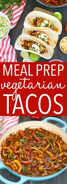 These Meal Prep Vegetarian Tacos are the perfect healthy meal prep solution for busy weeks! Make this delicious, family friendly veggie packed lentil taco filling and serve it in soft tacos, over salad, in lettuce wraps, and even for breakfast! Recipe from thebusybaker.ca! #LoveLentils #getPrepped #vegetariantacos #easyvegetarianrecipe via @busybakerblog