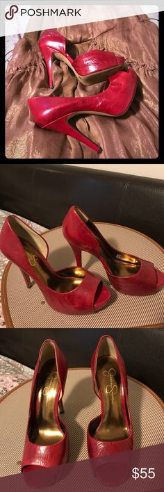 Jessica Red leather heels These are the one for a night out with it original look we call her Acadia , you will love the fit and the look dress me up in your best outfit or just some stylish jeans . Size 8B/38 Jessica Simpson Shoes Heels