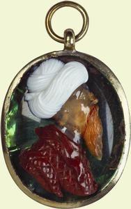 Agate, jasper, onyx and rock crystal bust of a Turk, German, c.1700.