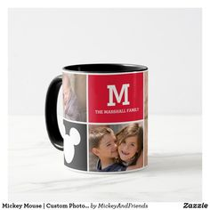 Mickey Mouse | Custom Photos & Monogram Mug Cute Mickey Mouse, Mickey Mouse And Friends, Disney Mugs, Disney Mickey, Gifts For Dad, Gifts For Friends, Disney Invitations, Custom Photo, Small Gifts