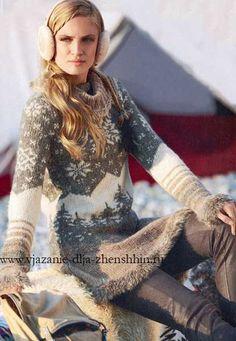 Вязание платья с жаккардовыми узорами