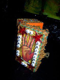 "LA MANO ""Loteria"" Inspired Mexican Folk ArT Mini Nicho Altar Shrine HandCrafted"
