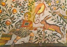Italia. Piazza Armerina Mosaico romano caza de la liebre