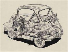 cutaway drawing bmw isetta