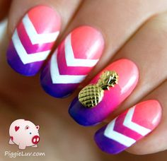 I did a mani swap with the lovely reireishnailart on Instagram! I didn't have chevron nail vinyls so I had to paint the chevrons by hand.