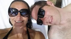 A married couple celebrating the husband's 35th birthday at a pool cabana at Pelican Hill  | www.pelicanhill.com |The Resort at Pelican Hill, Newport Beach, CA | #pelicanhillresort #birthday #memories