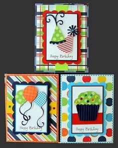 Great birthday cards! For boys especially, because I'm having a hard time with colorful yet masculine cards.