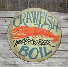 Crawfish  Boil Sign original wooden sign faux by ZekesAntiqueSigns