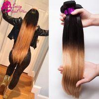 7A Brazilian Virgin Hair Straight Ombre Honey Blonde Ombre Brazilian Hair Straight Weave Cheap Brazilian Straight Hair 3 Pcs