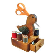 Vintage Wood Duck Sewing Caddy  Scissor & Thread by leapinglemming, $24.95