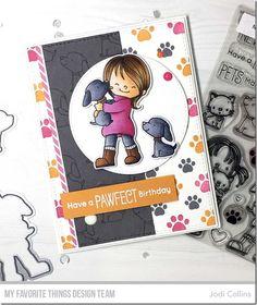 Stamping A Latte: November MFT Release Countdown: Day Four! Kids Birthday Cards, Handmade Birthday Cards, Greeting Cards Handmade, Dog Cards, Kids Cards, Umbrella Cards, Sewing Cards, Mft Stamps, Beautiful Handmade Cards