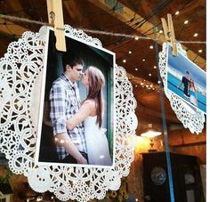 This would be perfect for where I have to pin up the pictures! Love this idea! Paper doilies give a little rustic touch to photo displaying!