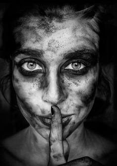 Photograph Dirty by Marianna Roussou on Face Photography, Conceptual Photography, Emotional Photography, Black And White Portraits, Black And White Photography, Portrait Art, Woman Face, Dark Art, Character Inspiration