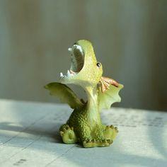 Miniature Dragon Roaring Figurine, Enchanted Story, Whimsical Miniature Garden, Fairy Garden Accessory