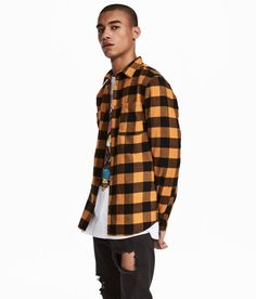 Check this out! Plaid flannel shirt with collar and a chest pocket. Regular fit. - Visit hm.com to see more.