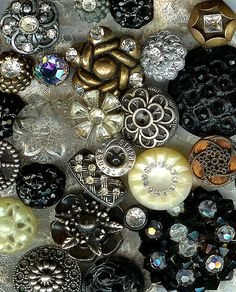 vintage black and clear buttons with rhinestones.