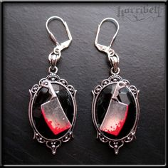 Gothic Bloody Meat Cleaver Earrings, Halloween Jewelry. $20.00, via Etsy.