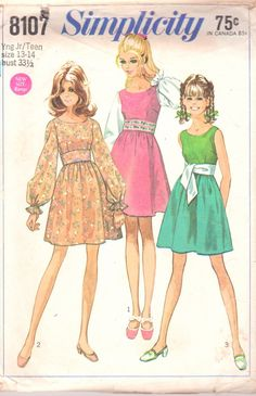 Simplicity 8107 1960s Young Jr Teen Midriff Mini Dress Pattern Scoop Neckline Womens Vintage Sewing Pattern