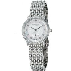 Frederique Constant Women's FC235MPWD1S6B Slim Line Stainless Steel Bracelet Watch Frederique Constant. $641.67. Stainless steel case. Swiss quartz movement. Water-resistant to 30 M (99 feet). Sapphire crystal. Diamond hour markers. Save 39%!
