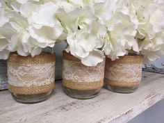 Set of 3 Burlap and Lace Wrapped Mason Jars. Perfect for Gifts, Home Decorations, Weddings, Storage, and MORE