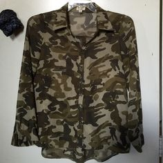 Top Sheer camouflage Tops Button Down Shirts