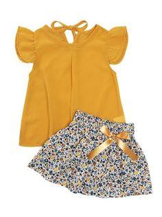 Mustard Ruffle Top and Floral Flare Skirt Tutus For Girls, Dresses Kids Girl, Little Girl Outfits, Toddler Girl Outfits, Toddler Girls, Baby Girls, Dress Girl, Baby Girl Fashion, Kids Fashion