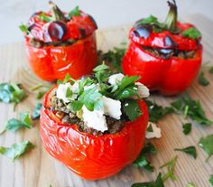 Stuck for dinner ideas? Wake up your tastebuds with these Moroccan stuffed capsicums! They're healthy, quick and easy to make, and taste delicious!