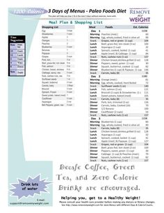 Printable 1000 Calorie Paleo Diet for 6 Days or less, grocery list included - Menu Plan for Weight Loss
