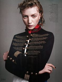 """""""Military Mix"""" Lou Schoof by Bjorne Jonasson for Vogue UK March 2015"""