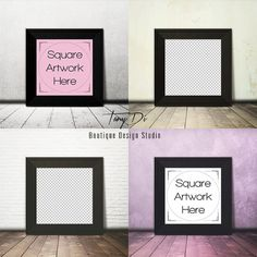 Black Square Frame on Wooden Floor Wall Art by TanyDiDesignStudio