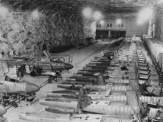 The Hinterbrühl underground production line for the Heinkel He 162 Volksjager (People's Fighter) aircraft factory, WWII. Heinkel He 162, Luftwaffe, Ligne Siegfried, Me262, Ww2 Pictures, Ww2 Planes, Ww2 Aircraft, Jet Plane, War Machine