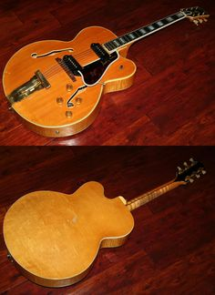 1953 Gibson L5-CESN, Extremely Rare Blonde finish with P-90 pickups, Gold Hardware, Ebony fingerboard with Pearl block inlays, Gorgeous Flamed Maple back, sides and neck, Pickguard signed by Scotty Moore, Beautiful top of the line model, EC, OHSC, $27,900