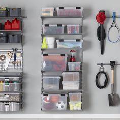 NEW Elfa Shelving, Garage Storage Shelves, Office Shelving, Garage Shelf, Garage Walls, Basement Storage, Garage Organization, Organization Ideas, Garage Solutions