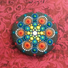 Jewel Drop Mandala Painted Stone tropical dream by ElspethMcLean