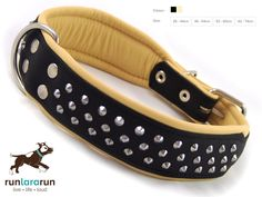 """runlararun - the best dog collars, leads and harnesses - 'Aluf"""" Collar - 3 Row Studded Soft Leather , $44.95 (http://www.runlararun.com/aluf-collar-3-row-studded-soft-leather/)"""