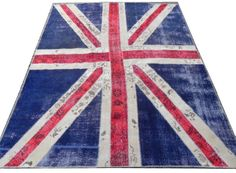 8x10 Ft (245x305 cm), Union Jack British Flag Design PATCHWORK RUG - Handmade from Overdyed Vintage Oriental Carpets - Custom Sizes