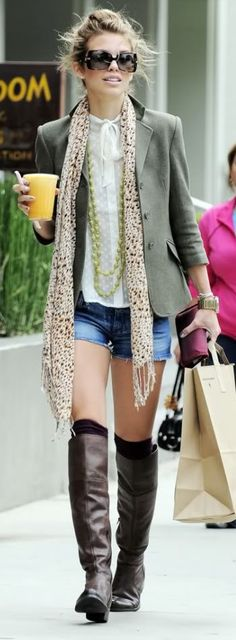 Blazer, Sunglasses, Scarf, Denim Shorts and Boots